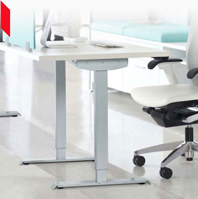 Height-adjustable desks and tables